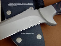 """Piranha"" serrations feature changing cut angle geometries for a varying yet smooth serrated cut with good trapping"