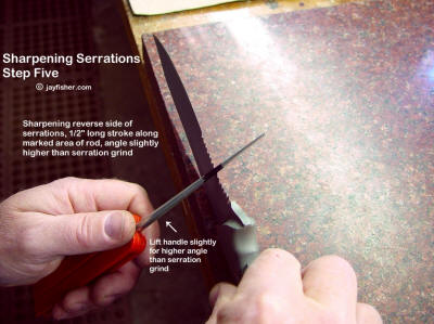 Sharpening knife blade serrations, sharpening reverse side, removing burr