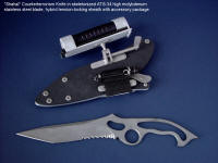 """Shahal"" Tactical Combat Counter-Terrorism Knife, obverse side view in ATS-34 high molybdenum stainless steel skeletonized blade, tension-locking sheath of kydex, aluminum, stainless steel, titanium"