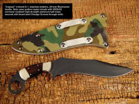 """Argiope"" tactical combat knife with die-formed high strength aluminum belt loops in camo kydex sheath"