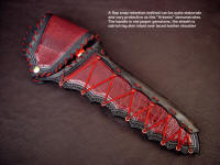 """Artemis"" elaborate sheath with flap snap retention method in knife sheath design"