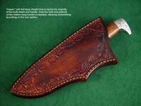 """Aspen"" hidden tang knife with deep, full, layered sheath protecting most of the knife handle"