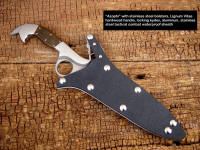 """Azophi"" tactical combat knife with locking waterproof kydex, aluminum, nickel plated steel, stainless steel sheath"