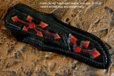 """Azuma"" fine custom knife obverse side view in 440C high chromium stainless steel blade, hand-engraved 304 stainless steel bolsters, Red River Jasper gemstone handle, hand-carved, hand-dyed leather sheath"