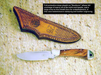 """Buckhorn"" with full sheath, front face of sheath is hand-stamped and engraved and personalized"