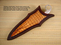 "Knife sheath for ""Bulldog"" in Crazy Lace Agate gemstone. Full panel inlay of caiman skin, tight stitching through sheath welts, face, and back"