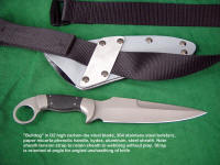 """Bulldog"" tactical combat CQB knife in D2, stainless fittings, micarta handle. Note kydex sheath back has tension straps of aluminum to mount to belt, webbing."