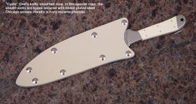 Sheath view of Cyele chef's knife in kydex with kydex welts on slip sheath for kitchen, transport, storage