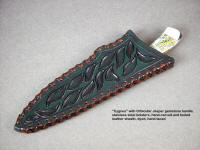 """Cygnus"" knife in hand-carved and tooled leather sheath, hand-laced"