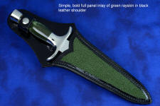 """Daqar"" dagger, sheath front view in CPM154CM powder metal technology stainless steel blade, 304 stainless steel guard and pommel, Nephrite Jade gemstone handle, hand-carved leather sheath inlaid with rayskin"