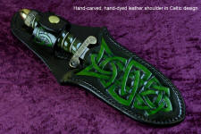 """Darach"" (Celtic Oak), obverse side view in hand-engraved 440C high chromium stainless steel blade, hand-cast, hand-engraved bronze guard and pommel, nephrite jade gemstone  handle wrapped with sterling silver, hand-carved, hand-dyed leather sheath"
