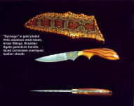 """Durango"" gold plated knife blade, Brazillian Agate gemstone handle, Corn snake overlay on hand-laced leather sheath"