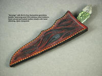 """Durango"" in hand carved, stamped, and tooled knife sheath face, in dyed leather shoulder, hand-stitched"
