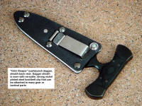 """Grim Reaper"" sheath back. Note nickel plated steel boot, belt, utility clip to secure knife sheath in a variety of wear options"