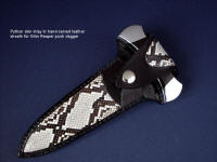 Python skin inlays in hand-carved leather sheath for push dagger Grim Reaper