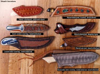 Wide variety of sheath finish and type, sheath options for various knife configurations