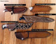 A group of knife sheaths and a variety of sheath finish and embellishment options