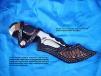 "Open or display type of knife sheath for trailing point knives: ""Izumi"" with leather and lizard skin inlays"