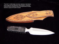 """The Kid"" with engraved leather sheath that matches engraving on knife gemstone handle and bolsters"