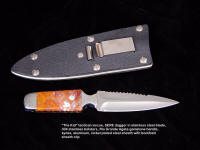 """The Kid"" SERE, survival knife, double edged, with kydex, aluminum, nickel plated steel sheath with belt/boot clip"