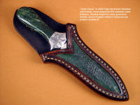"""Little Venus"" dagger with nephrite jade gemstone handle in green frog skin inlaid leather scabbard"