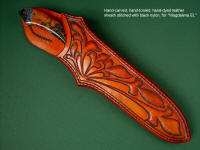 Hand-carved, hand-tooled, hand-dyed heavy leather shoulder on Magdalena Magnum