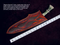 "Sheath view: ""Maginus-Nasmyth"" khukri, showing double run stitching of polyester sinew in leather sheath welts, face, and back"