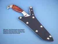 """Mercator"" obverse side view: ATS-34 high molybdenum stainless steel blade, 304 stainless steel bolsters, Kingwood hardwood handle, locking kydex, aluminum, stainless steel sheath"