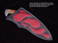 "Sheath detail: ""Ocate"" with red stingray skin inlays, hand-carved leather."