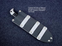 """Palaemon"" tactical rescue, emergency response knife, sheath back, horizontal belt loop arrangement view"