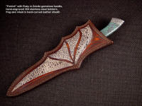 """Patriot"" with Ruby in Zoisite handle in frog skin inlaid sheath of hand-carved leather shoulder"