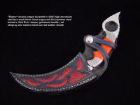 """Raptor"" double edged kerambit in 440c stainless steel blade, hand-engraved 304 stainless steel bolsters, Red River Jasper gemstone handle, red Stingray skin inlaid in hand-carved leather sheath with handle display retention"