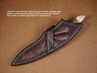 """Santa Fe"" with crossdraw type sheath belt loop, lizard skin inlays in hand-carved leather shoulder"