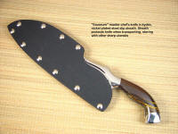 """Saussure"" fine handmade chef's knife in kydex slip sheath for storage or carry protection"