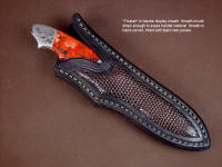 """Thuban"" sheathed view in ATS-34 high molybdenum stainless steel blade, hand-engraved 304 stainless steel bolsters, brecciated jasper gemstone handle, lizard skin inlaid in hand-carved leather sheath"