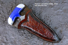 """Vindicator"" push dagger, obverse side view in CPM154CM powder metal technology tool steel blade, 304 stainless steel bolsters, Afghanistan Lapis Lazuli gemstone handle, hand-carved leather sheath inlaid with Elephant skin"