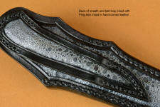 Sheath back with full inlays, even in belt loop of exotic frog skin