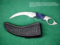 """Wardlow"" kerambit in 440C stainless steel blade, 304 stainless steel bolsters, sodalite gemstone handle, hand-stamped black basketweave leather sheath for inside belt, pants wear"