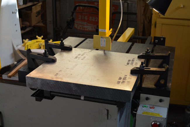 "Cutting a large block of 2"" thick aluminum for contact blocks"