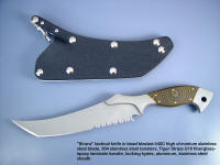 """Sirara"" tactical combat knife, obverse side view in 440C high chromium stainless steel blade, 304 sculpted stainless steel bolsters, Tiger Stripe G10 fiberglass reinforced epoxy synthetic handle, locking kydex, aluminum, stainless steel sheath"