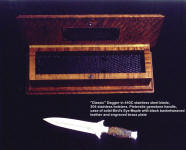 """Classic"" dagger in a leather lined hardwood case of bird's eye maple. Knife is 440C stainless steel and Pietersite Agate gemstone"