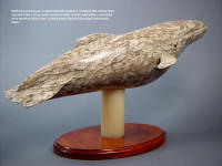 """Pacifica"" the stand and base were carved first, then the knife was fitted to the whale's body."