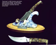 """Seascape"" stand is hand-carved blue alabaster, seashells, red oak. Knife handle is fossilized Turitella agate gemstone"