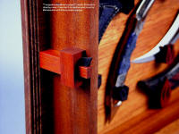 """Tunguska and Manicouagan"" case details. Mortise and tenon latch in bloodwood and ebony hardwood with tension wedges"
