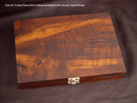"""Trophy Game Set"" knife trio custom case in oiled Imbuya exotic hardwood and brass"