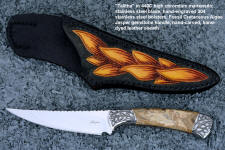 """Talitha"" obverse side view in 440c high chromium stainless steel blade, hand-engraved 304 stainless steel bolsters, Fossil Cretaceous Algae Jasper gemstone handle, hand-carved, hand-dyed leather sheath"