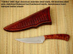 """Talitha"" Trailing point caping, dressing, utility knife, basketweave sheath, redwood burl handle"