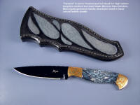 "Fine, handmade, investment grade cutlery, knives: ""Tarazed"" in blued o-1 too steel blade, Mokume Gane copper/silver bolsters, Moss agate gemstone handle, sharkskin inlaid in hand-carved leather sheath"
