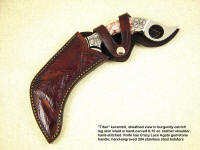 Sheath for Titan Kerambit: Ostrich Leg Skin inlaid in hand-tooled leather shoulder