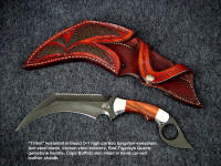 """Triton"" kerambit in blued O-1 high carbon tungsten-vanadium alloy tool steel blade, carbon steel bolsters, Red Tigereye gemstone handle, Cape Buffalo skin inlaid in hand-carved leather sheath"
